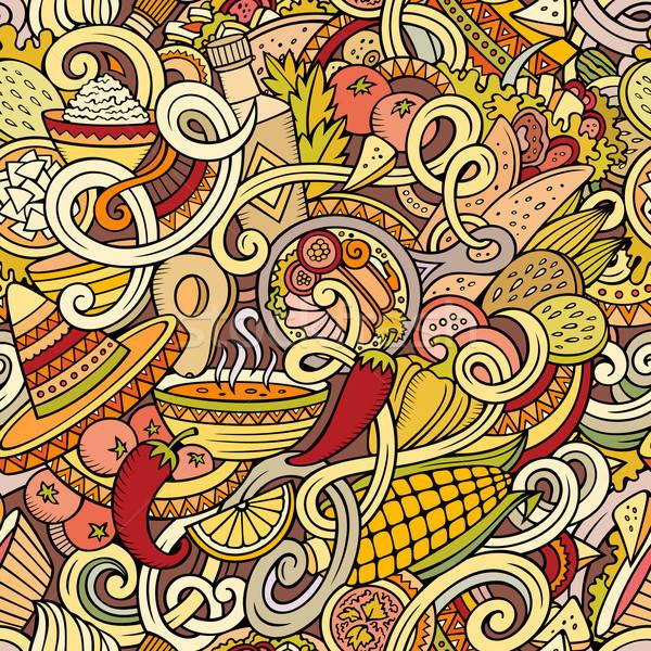 Cartoon meksykańskie jedzenie bazgroły szczegółowy obiektów Zdjęcia stock © balabolka