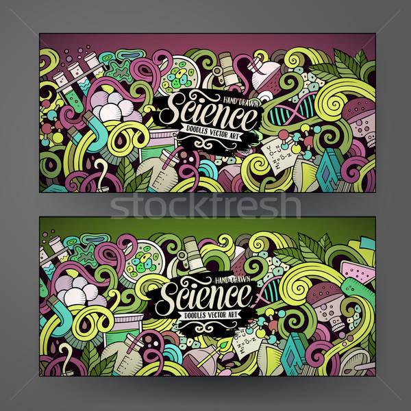 Foto stock: Desenho · animado · vetor · ciência · banners · colorido