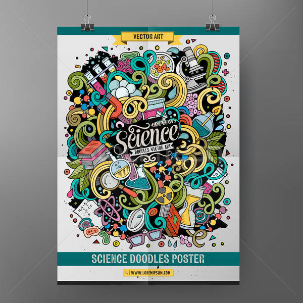 Karikatür renkli karalamalar bilim poster Stok fotoğraf © balabolka