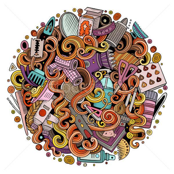 漫画 美容院 実例 かわいい 手描き ストックフォト © balabolka
