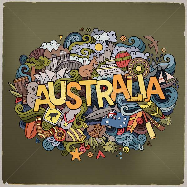 Austrália mão elementos país símbolos Foto stock © balabolka