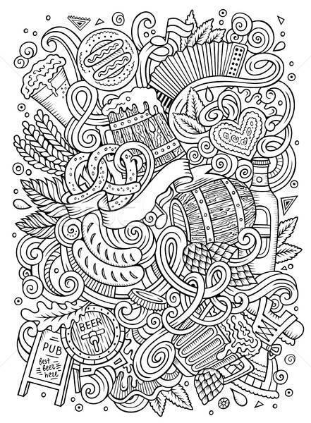 Karikatur cute Kritzeleien Hand gezeichnet Oktoberfest Illustration Stock foto © balabolka