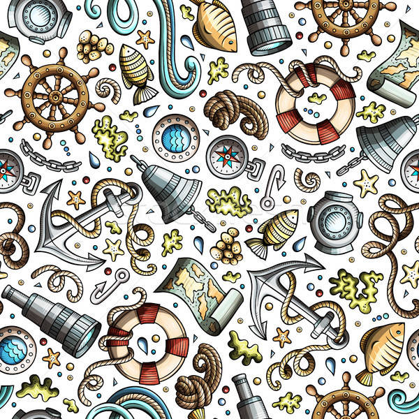 Stock photo: Cartoon nautical seamless pattern