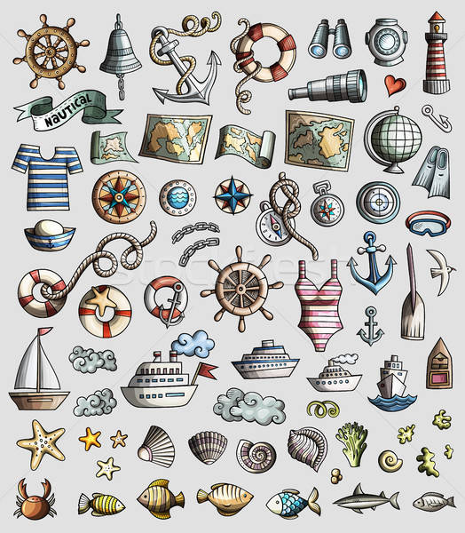 Vector set of Marine, Nautical cartoon 3d doodle objects Stock photo © balabolka