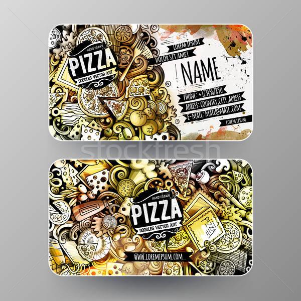 Cartoon graphics watercolor vector doodles Pizza corporate identity Stock photo © balabolka