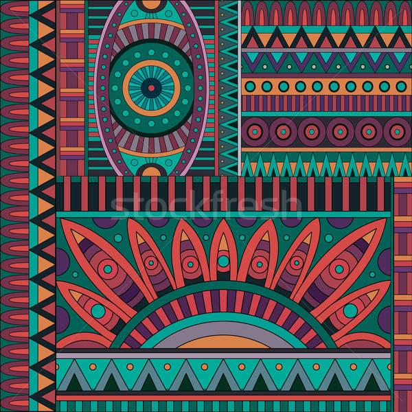 Absztrakt vektor törzsi kisebbségi mértani minta Stock fotó © balabolka