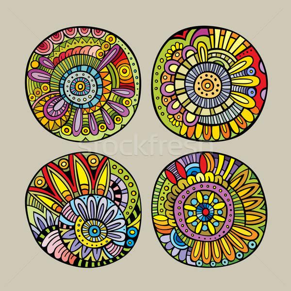 Establecer decorativo diseno elementos dibujado a mano vector Foto stock © balabolka