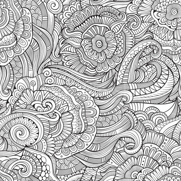 Stock photo: Beautiful decorative floral ornamental sketchy seamless pattern
