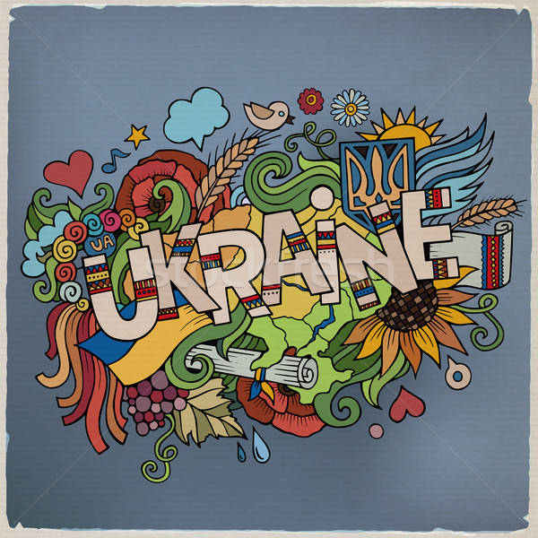 Zdjęcia stock: Ukraina · strony · bazgroły · elementy · miłości · słońce