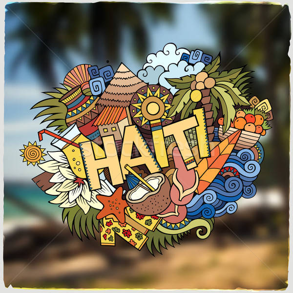 Haiti mano scarabocchi elementi emblema simboli Foto d'archivio © balabolka