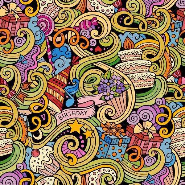 Cartoon hand-drawn doodles birthday seamless pattern Stock photo © balabolka