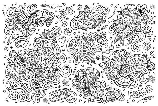 Line art set of hippie objects  Stock photo © balabolka