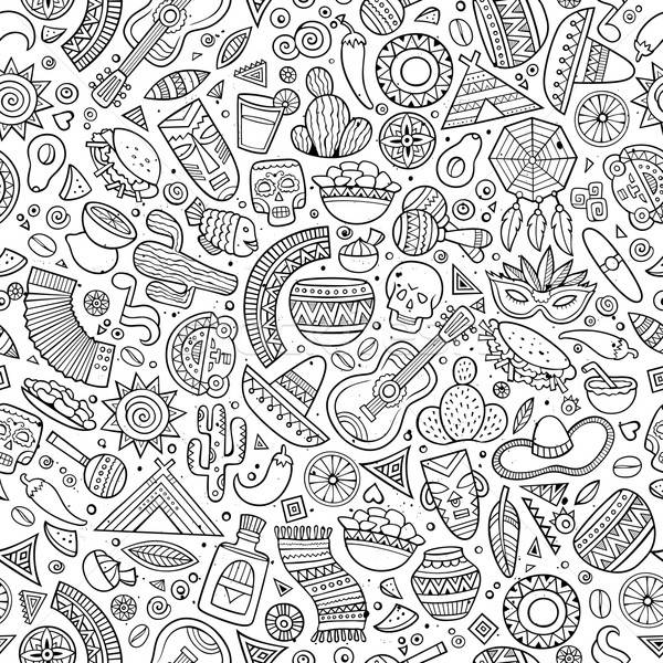 Cartoon hand-drawn latin american, mexican seamless pattern Stock photo © balabolka