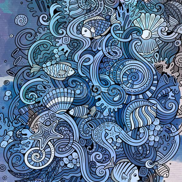 Cartoon bazgroły podwodne życia ilustracja vintage Zdjęcia stock © balabolka
