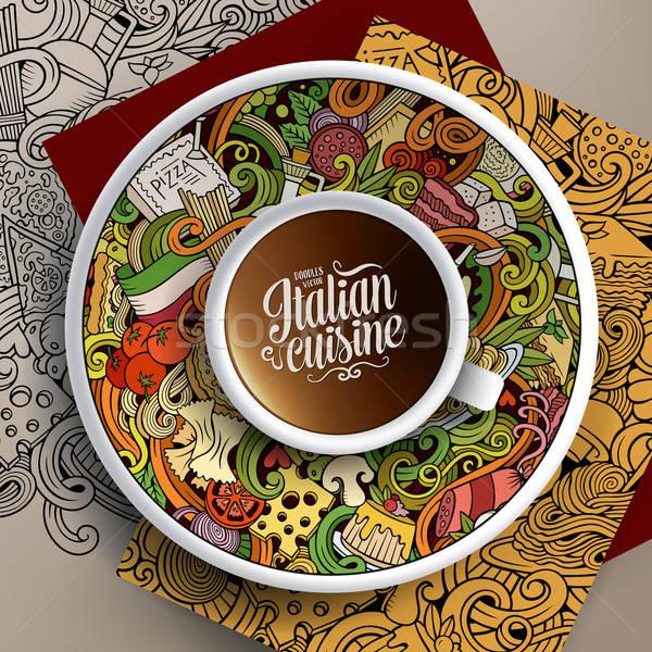 Illustration tasse café nourriture italienne dessinés à la main Photo stock © balabolka