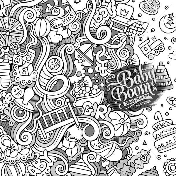 Cartoon vector doodles baby boom frame Stock photo © balabolka