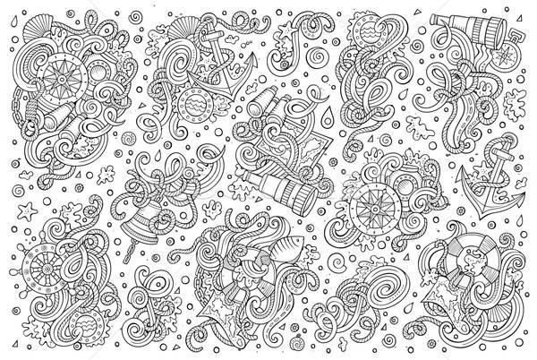 набор морской морской объекты линия Сток-фото © balabolka