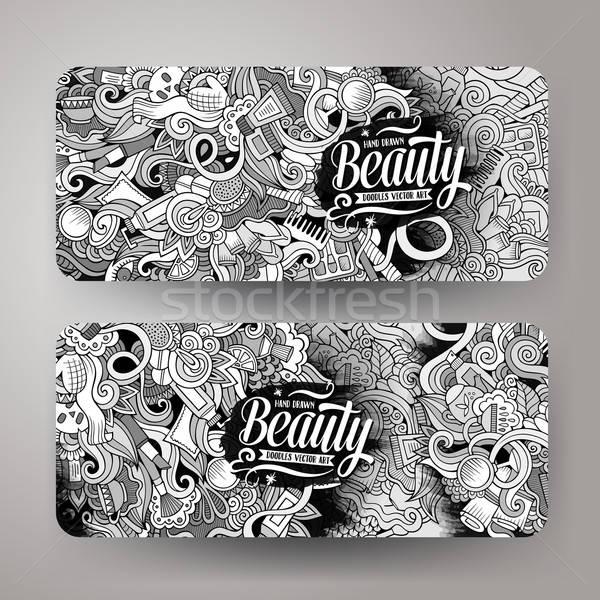 Rajz kézzel rajzolt firkák kozmetikai vállalati arculat Stock fotó © balabolka