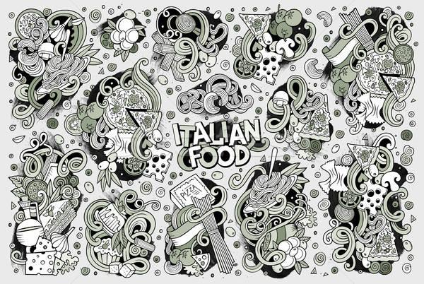 Line arte vettore cartoon set cucina italiana Foto d'archivio © balabolka