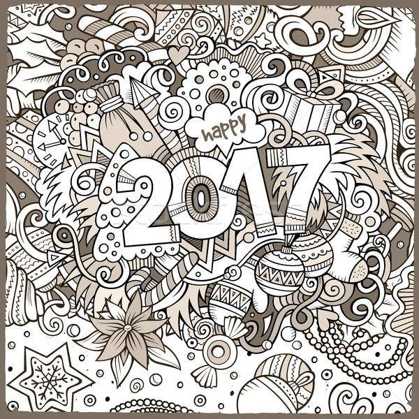 Cartoon cute doodles hand drawn New Year illustration Stock photo © balabolka