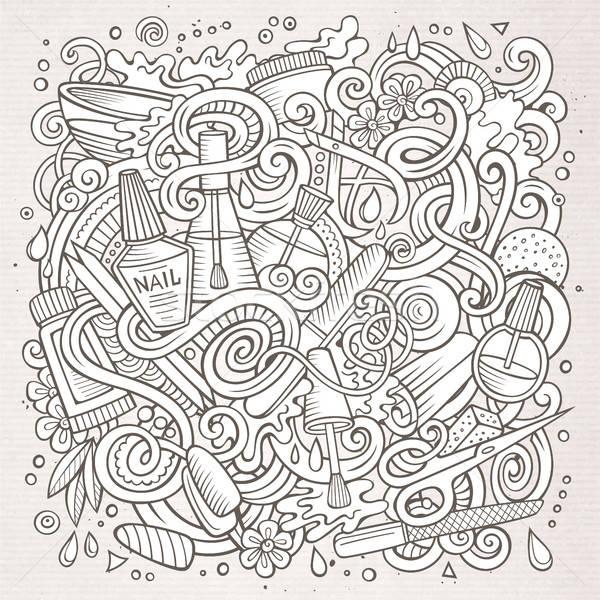 Cartoon doodles Nail salon illustration vector illustration © Olga ...
