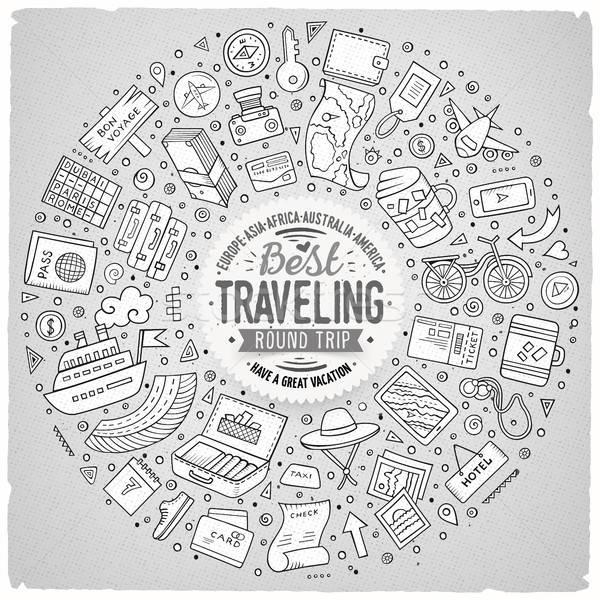 Foto stock: Quadro · viajar · desenho · animado · objetos · símbolos · linha