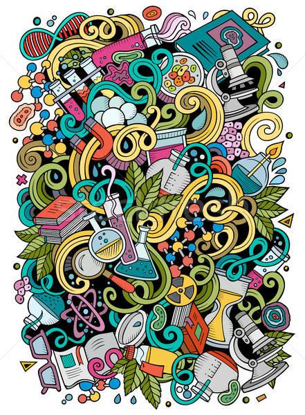 Cartoon cute doodles Science illustration Stock photo © balabolka