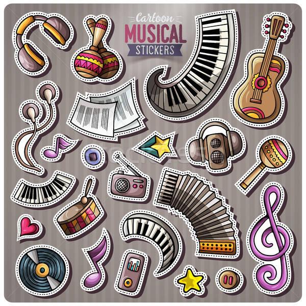 Establecer vector música Cartoon pegatinas garabato Foto stock © balabolka
