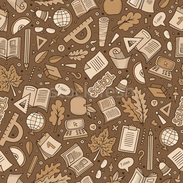 Stock fotó: Rajz · aranyos · kézzel · rajzolt · iskola · végtelen · minta · tudomány