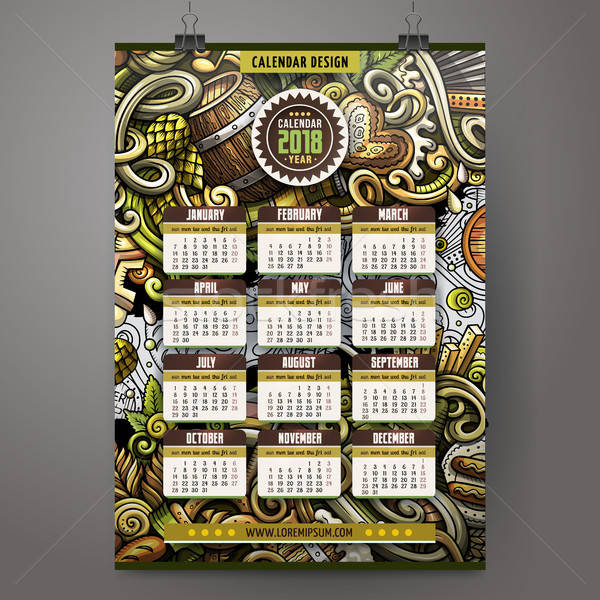 Cartoon doodles Beer fest 2018 year calendar template. English, Sunday start Stock photo © balabolka
