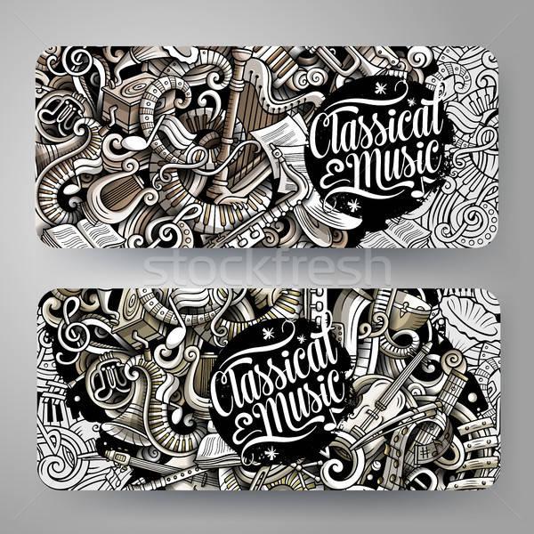 Cartoon graphics vector hand drawn doodles Classic Music horizontal banners Stock photo © balabolka