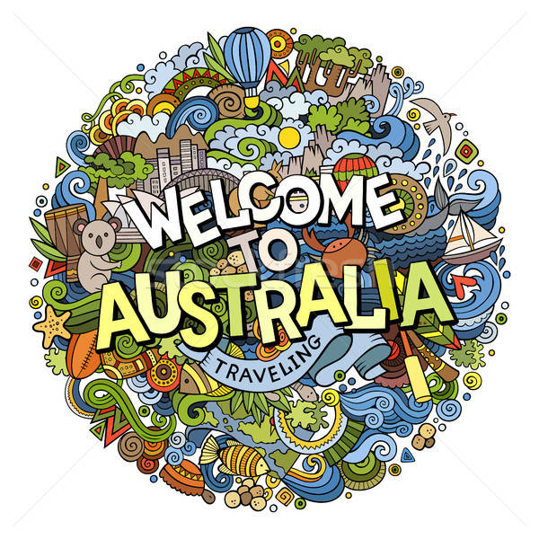Cartoon cute doodles hand drawn Welcome to Australia inscription Stock photo © balabolka