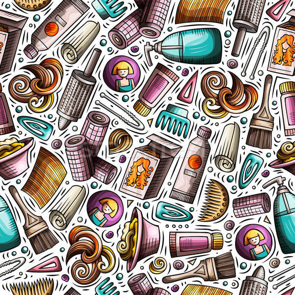 Cartoon hand-drawn Hair salon seamless pattern Stock photo © balabolka