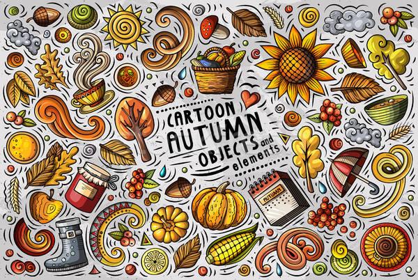 Stock fotó: Vektor · firka · rajz · szett · ősz · tárgyak