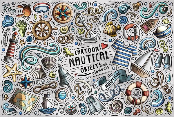 вектора болван Cartoon набор морской объекты Сток-фото © balabolka