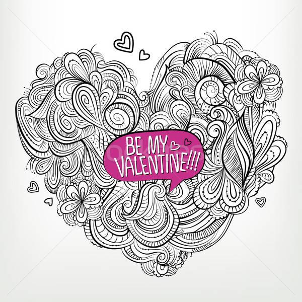 Be my Valentine. Drawing vector Greeting card Stock photo © balabolka