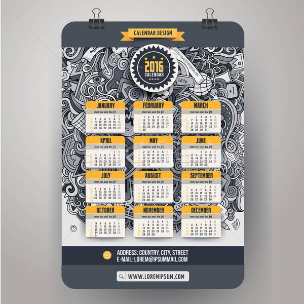 Scarabocchi calendario 2016 anno design Foto d'archivio © balabolka