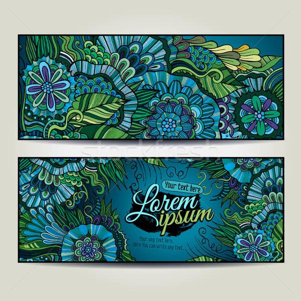 Foto stock: Abstrato · vetor · decorativo · floral · fundos · modelo