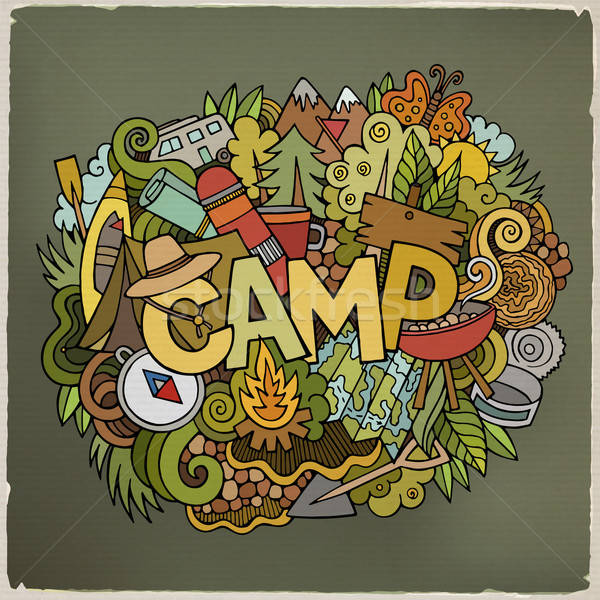 Summer camp hand lettering and doodles elements background Stock photo © balabolka