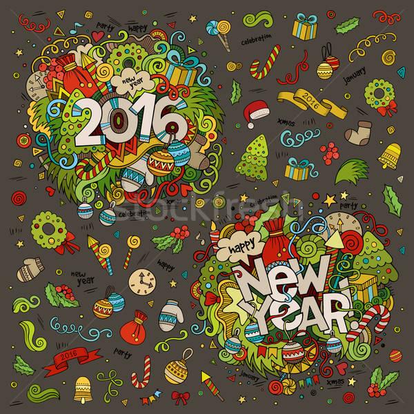 Ingesteld 2016 nieuwjaar hand communie Stockfoto © balabolka