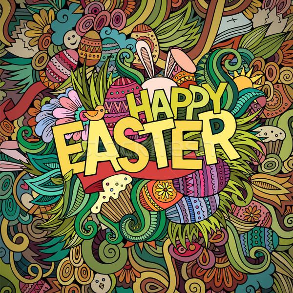 Rajz firkák kellemes húsvétot színes részletes tárgyak Stock fotó © balabolka