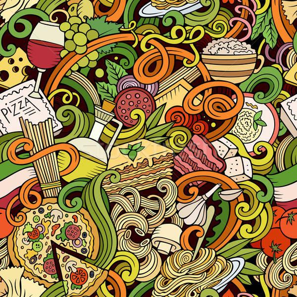 Cartoon итальянская кухня красочный подробный Сток-фото © balabolka
