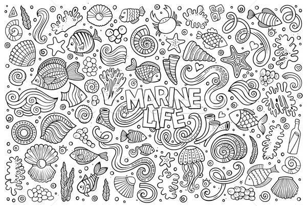 Línea arte establecer marinos vida objetos Foto stock © balabolka