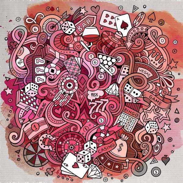 Karikatür karalamalar kumarhane kumar örnek suluboya Stok fotoğraf © balabolka