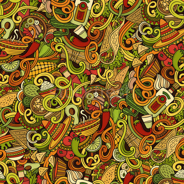 Cartoon mexican food doodles seamless pattern Stock photo © balabolka