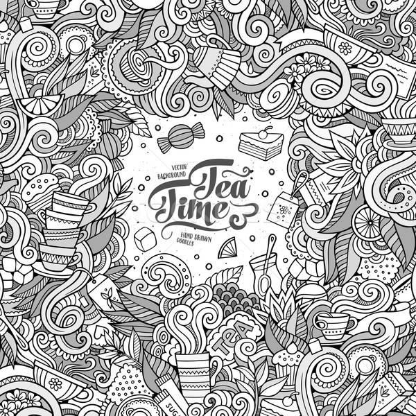 Rajz aranyos firkák kézzel rajzolt tea keret Stock fotó © balabolka