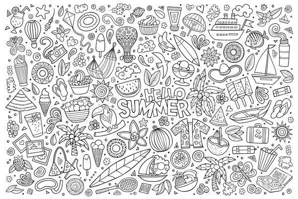 Linha arte vetor conjunto verão objetos Foto stock © balabolka