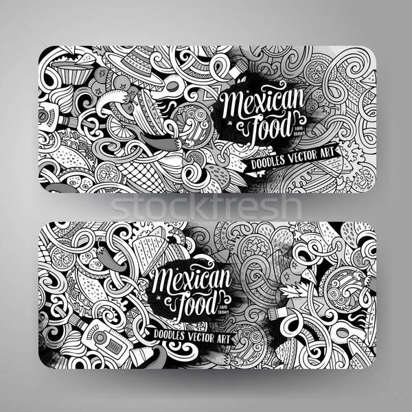 Cartoon mexicaans eten banners graphics Stockfoto © balabolka