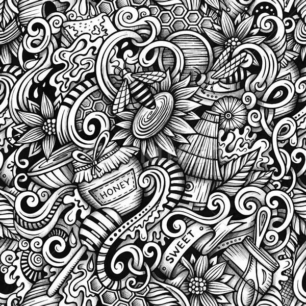 Cartoon hand-drawn doodles Honey seamless pattern Stock photo © balabolka