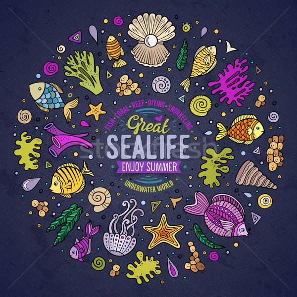 Set of Sealife cartoon doodle objects, symbols and items Stock photo © balabolka